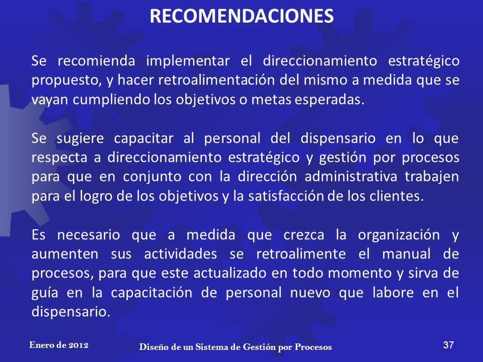 RECOMENDACIONES Enero de 2012 37 Diseño de un Sistema de Gestión por Procesos Se recomienda implementar el direccionamiento estratégico propuesto, y h