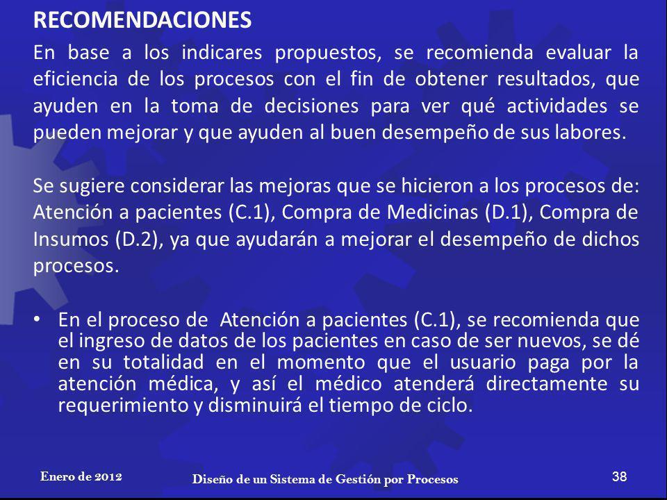 RECOMENDACIONES Enero de 2012 38 Diseño de un Sistema de Gestión por Procesos En base a los indicares propuestos, se recomienda evaluar la eficiencia