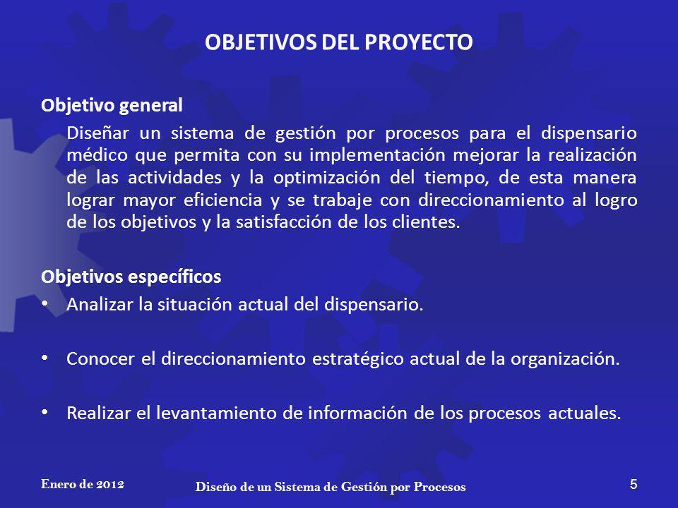 OBJETIVOS DEL PROYECTO Objetivo general Diseñar un sistema de gestión por procesos para el dispensario médico que permita con su implementación mejora