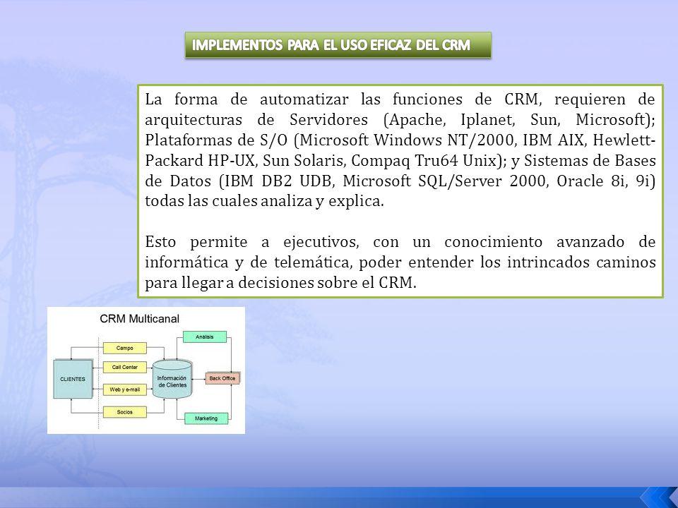La forma de automatizar las funciones de CRM, requieren de arquitecturas de Servidores (Apache, Iplanet, Sun, Microsoft); Plataformas de S/O (Microsof