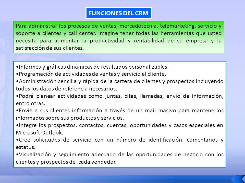 FUNCIONES DEL CRM Informes y gráficas dinámicas de resultados personalizables. Programación de actividades de ventas y servicio al cliente. Administra