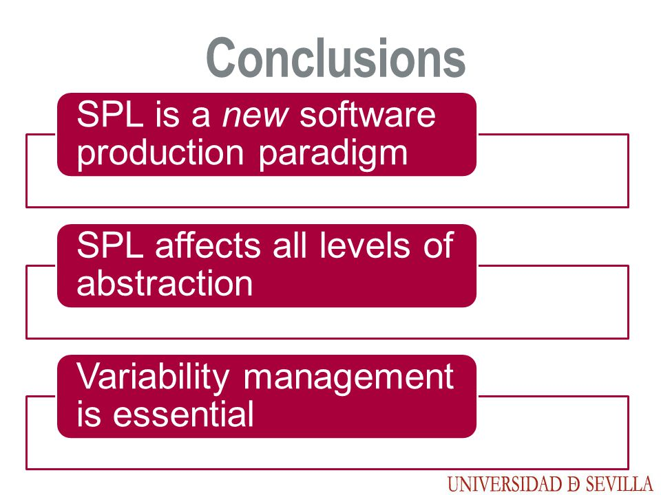 Conclusions SPL is a new software production paradigm SPL affects all levels of abstraction Variability management is essential