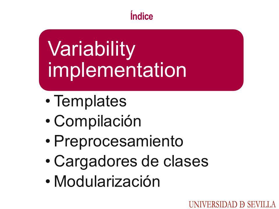 Índice Variability implementation Templates Compilación Preprocesamiento Cargadores de clases Modularización