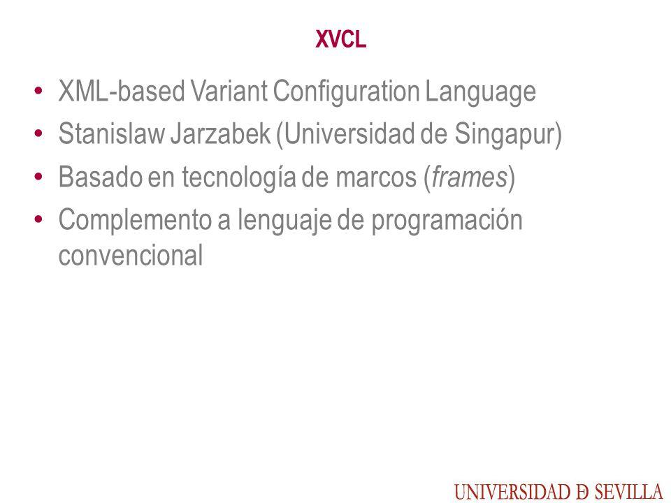 XVCL XML-based Variant Configuration Language Stanislaw Jarzabek (Universidad de Singapur) Basado en tecnología de marcos ( frames ) Complemento a lenguaje de programación convencional