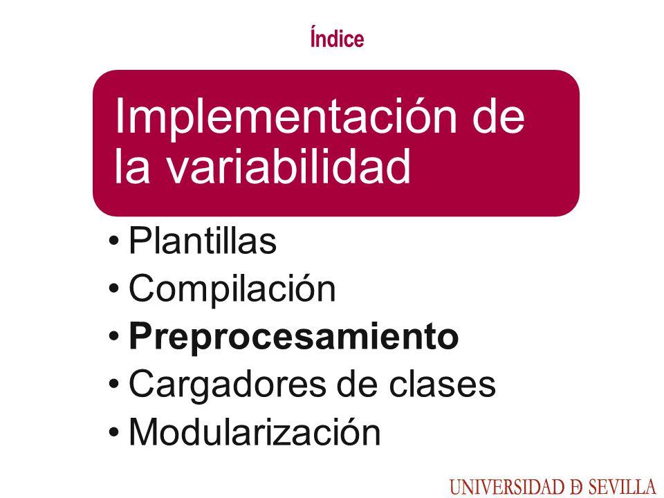 Índice Implementación de la variabilidad Plantillas Compilación Preprocesamiento Cargadores de clases Modularización