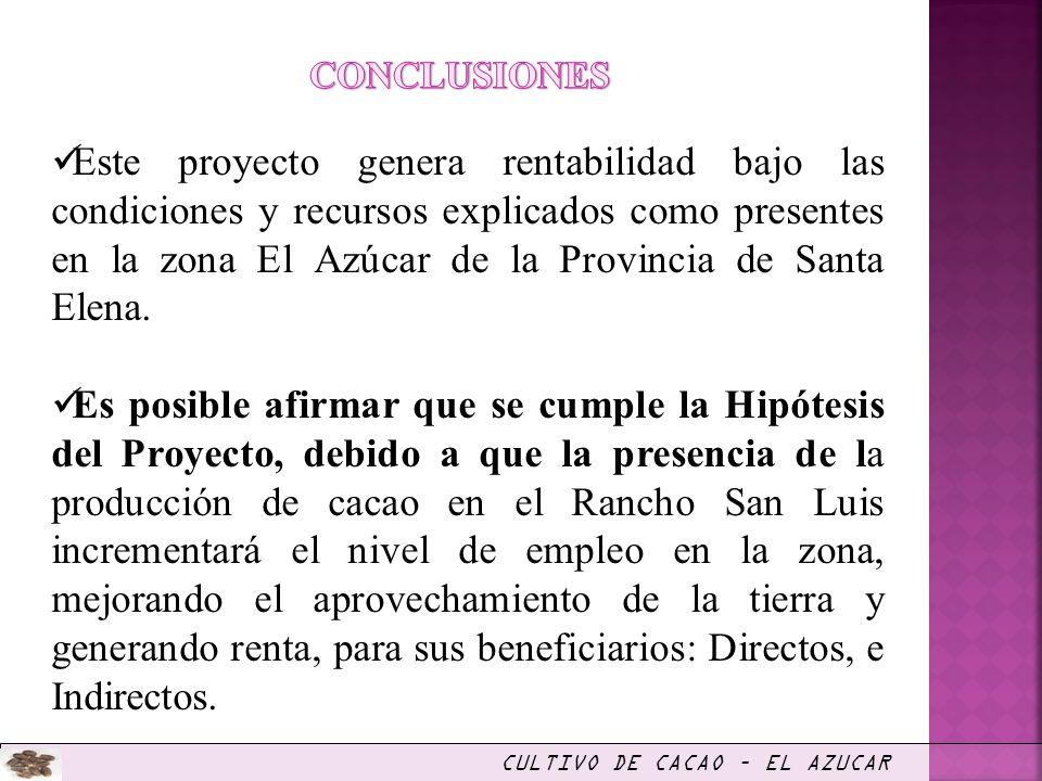 Este proyecto genera rentabilidad bajo las condiciones y recursos explicados como presentes en la zona El Azúcar de la Provincia de Santa Elena. Es po