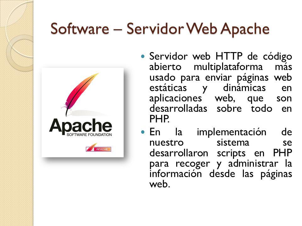 Software – Servidor Web Apache Servidor web HTTP de código abierto multiplataforma más usado para enviar páginas web estáticas y dinámicas en aplicaciones web, que son desarrolladas sobre todo en PHP.
