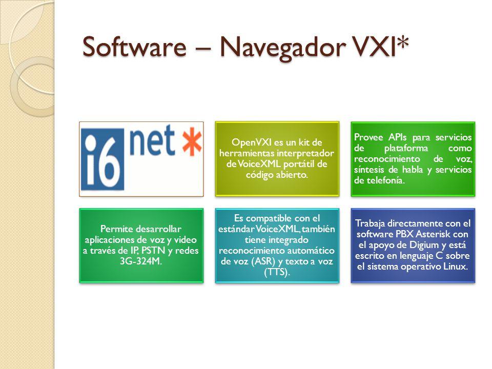 Software – Navegador VXI*. OpenVXI es un kit de herramientas interpretador de VoiceXML portátil de código abierto. Provee APIs para servicios de plata