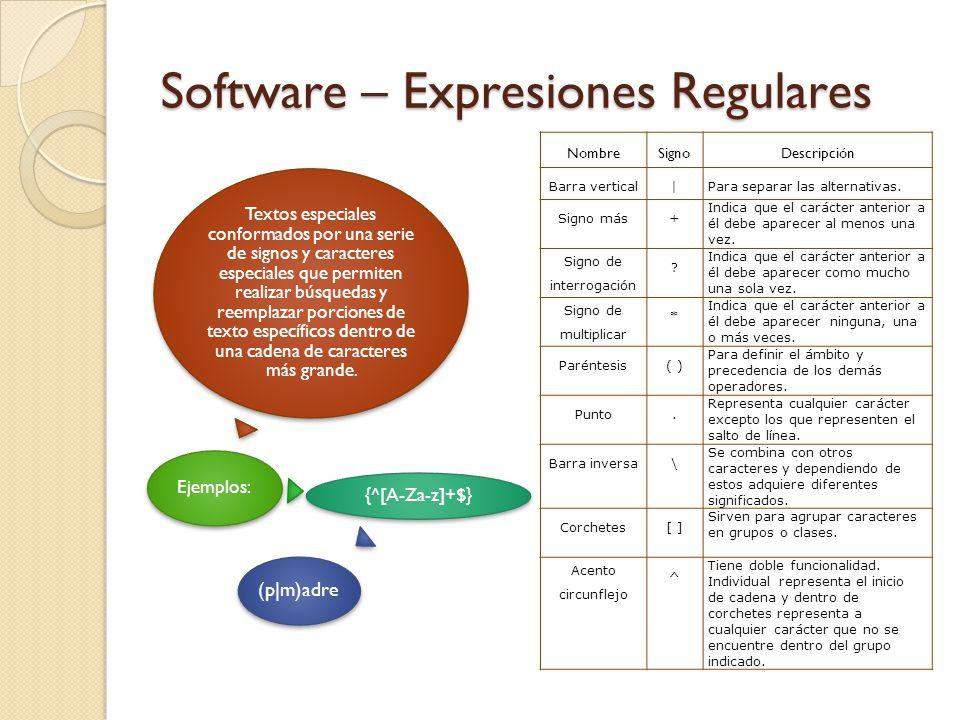 Software – Expresiones Regulares Textos especiales conformados por una serie de signos y caracteres especiales que permiten realizar búsquedas y reemplazar porciones de texto específicos dentro de una cadena de caracteres más grande.
