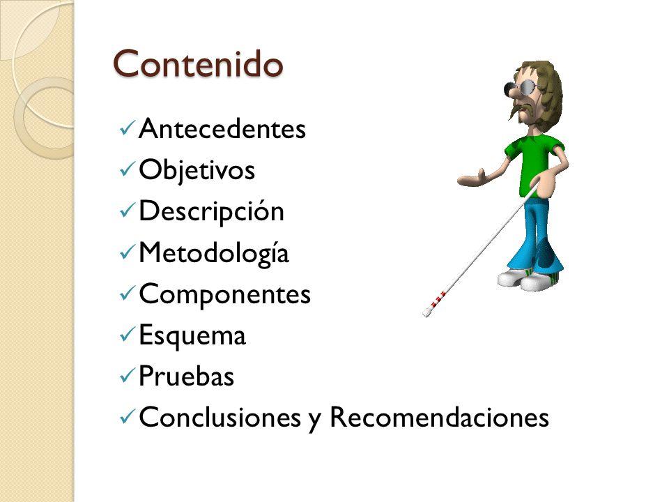 Contenido Antecedentes Objetivos Descripción Metodología Componentes Esquema Pruebas Conclusiones y Recomendaciones