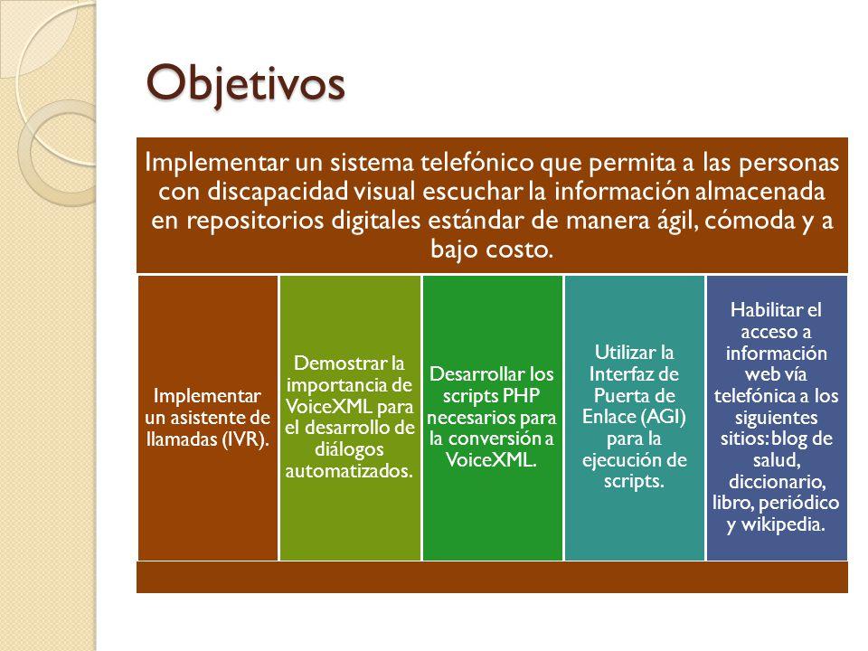 Objetivos Implementar un sistema telefónico que permita a las personas con discapacidad visual escuchar la información almacenada en repositorios digitales estándar de manera ágil, cómoda y a bajo costo.