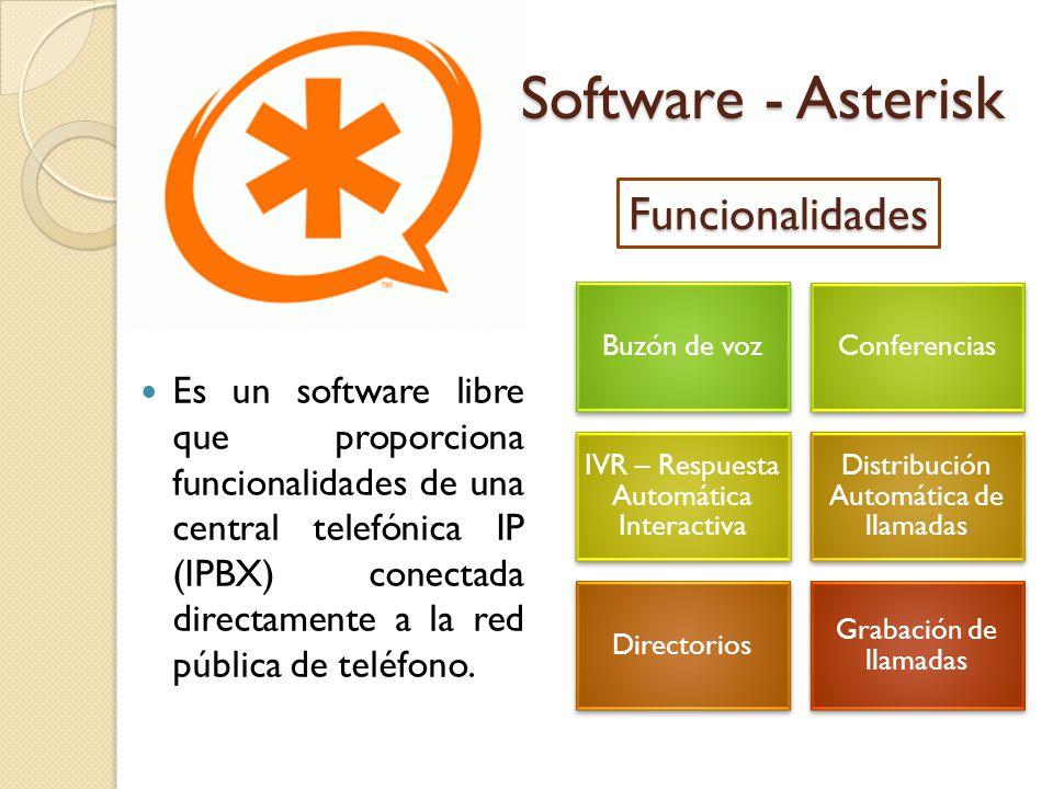 Software - Asterisk Es un software libre que proporciona funcionalidades de una central telefónica IP (IPBX) conectada directamente a la red pública de teléfono.