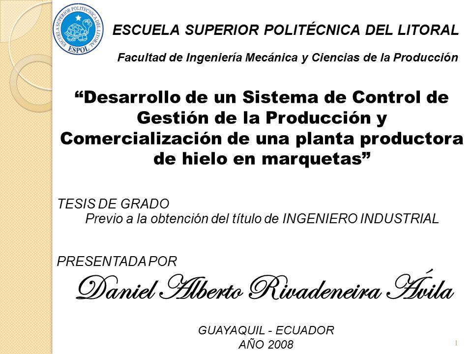 2 OBJETIVO GENERAL Diseñar un sistema de control basándose en indicadores para la gestión de la producción y comercialización de una planta productora de hielo en marquetas.