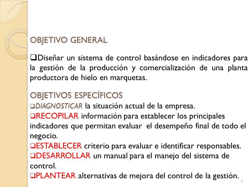 2 OBJETIVO GENERAL Diseñar un sistema de control basándose en indicadores para la gestión de la producción y comercialización de una planta productora