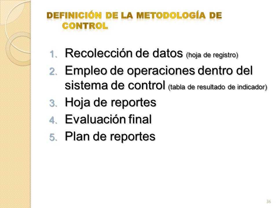 1. Recolección de datos (hoja de registro) 2. Empleo de operaciones dentro del sistema de control (tabla de resultado de indicador) 3. Hoja de reporte