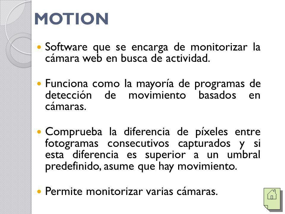 MOTION Software que se encarga de monitorizar la cámara web en busca de actividad. Funciona como la mayoría de programas de detección de movimiento ba