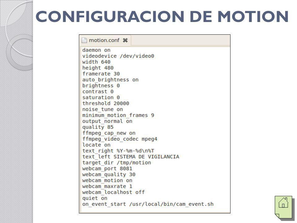 CONFIGURACION DE MOTION