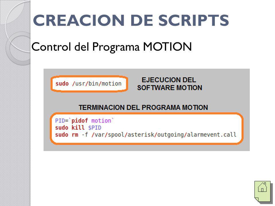 CREACION DE SCRIPTS Control del Programa MOTION
