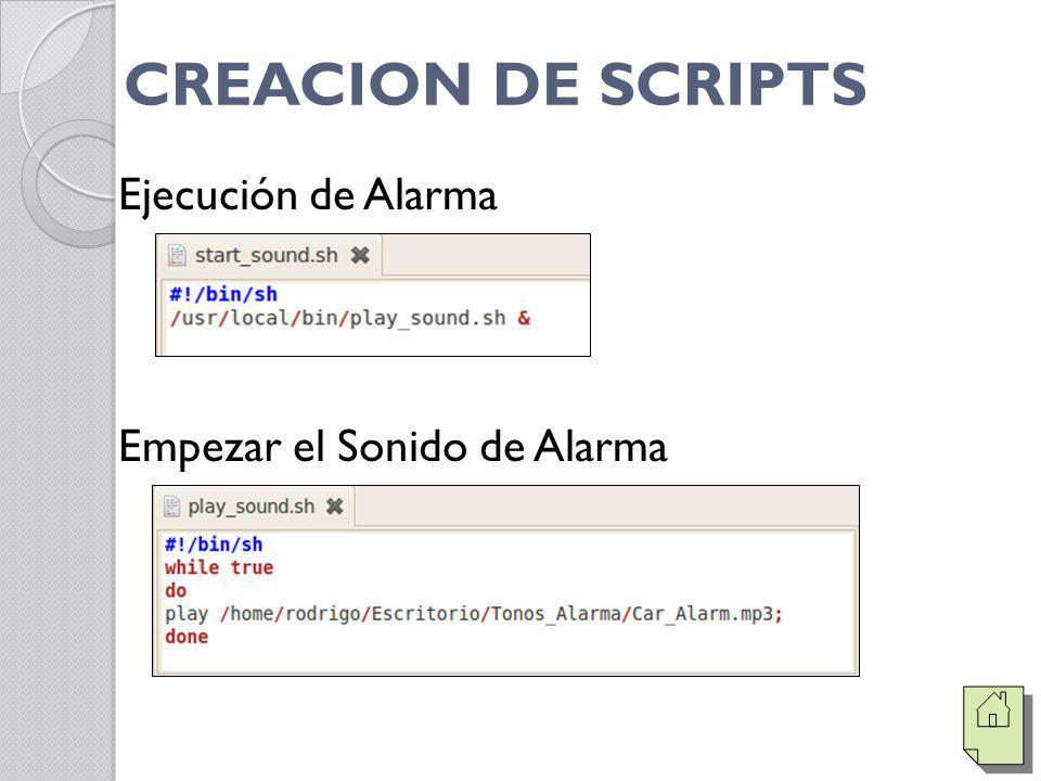 CREACION DE SCRIPTS Ejecución de Alarma Empezar el Sonido de Alarma
