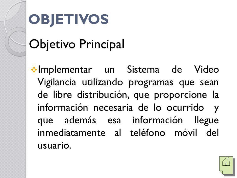 OBJETIVOS Implementar un Sistema de Video Vigilancia utilizando programas que sean de libre distribución, que proporcione la información necesaria de