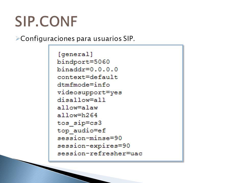 Configuraciones para usuarios SIP.