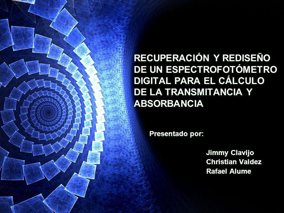 Presentado por: Jimmy Clavijo Christian Valdez Rafael Alume Presentado por: Jimmy Clavijo Christian Valdez Rafael Alume RECUPERACIÓN Y REDISEÑO DE UN
