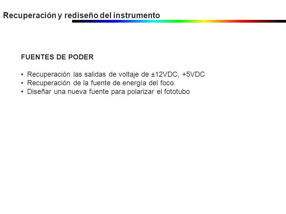 Recuperación y rediseño del instrumento FUENTES DE PODER Recuperación las salidas de voltaje de ±12VDC, +5VDC Recuperación de la fuente de energía del