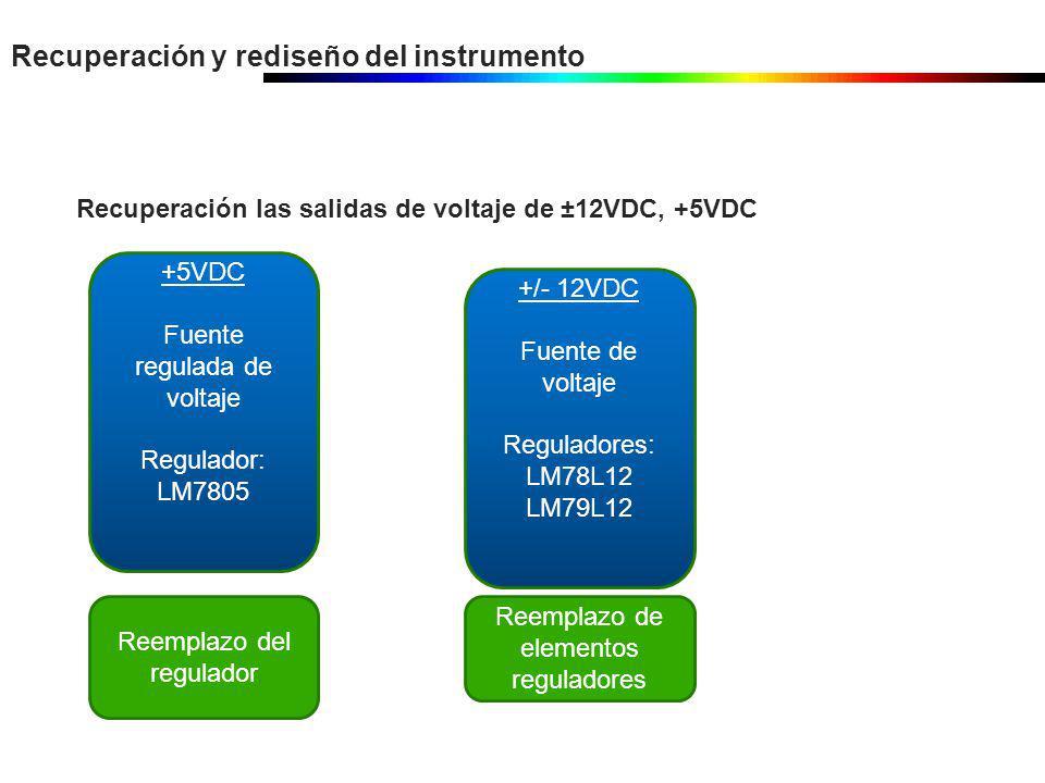 Recuperación y rediseño del instrumento Recuperación las salidas de voltaje de ±12VDC, +5VDC +5VDC Fuente regulada de voltaje Regulador: LM7805 Reempl