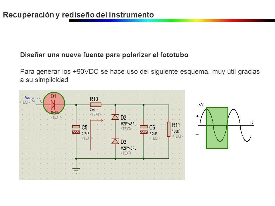 Recuperación y rediseño del instrumento Diseñar una nueva fuente para polarizar el fototubo Para generar los +90VDC se hace uso del siguiente esquema,