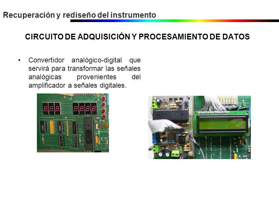 Recuperación y rediseño del instrumento CIRCUITO DE ADQUISICIÓN Y PROCESAMIENTO DE DATOS Convertidor analógico-digital que servirá para transformar la