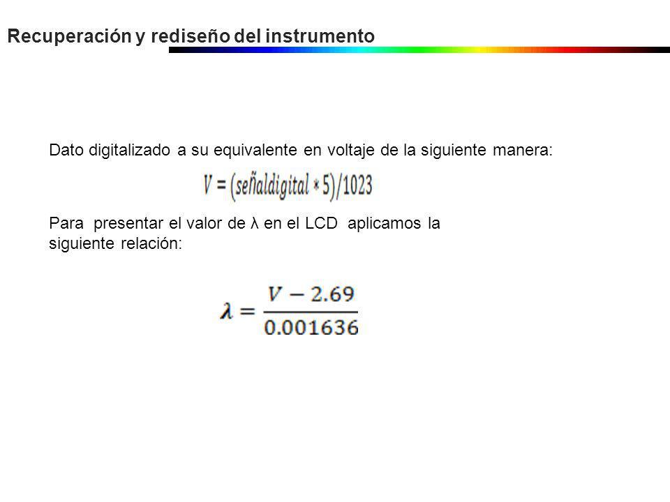 Recuperación y rediseño del instrumento Dato digitalizado a su equivalente en voltaje de la siguiente manera: Para presentar el valor de λ en el LCD a