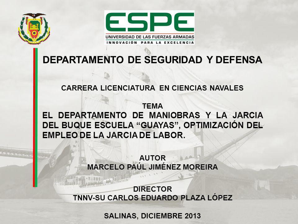 DEPARTAMENTO DE SEGURIDAD Y DEFENSA CARRERA LICENCIATURA EN CIENCIAS NAVALES TEMA EL DEPARTAMENTO DE MANIOBRAS Y LA JARCIA DEL BUQUE ESCUELA GUAYAS, OPTIMIZACIÓN DEL EMPLEO DE LA JARCIA DE LABOR.