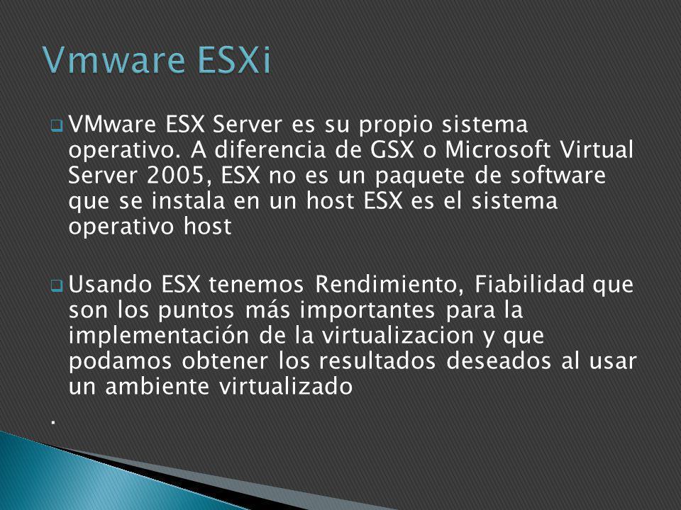 VMware ESX Server es su propio sistema operativo. A diferencia de GSX o Microsoft Virtual Server 2005, ESX no es un paquete de software que se instala