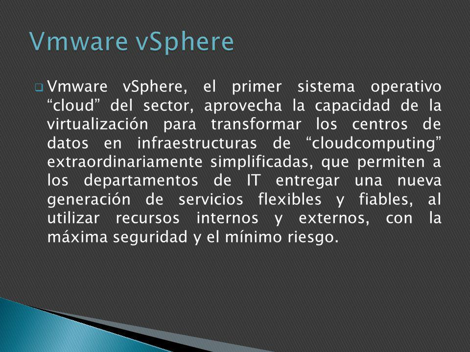Vmware vSphere, el primer sistema operativo cloud del sector, aprovecha la capacidad de la virtualización para transformar los centros de datos en inf