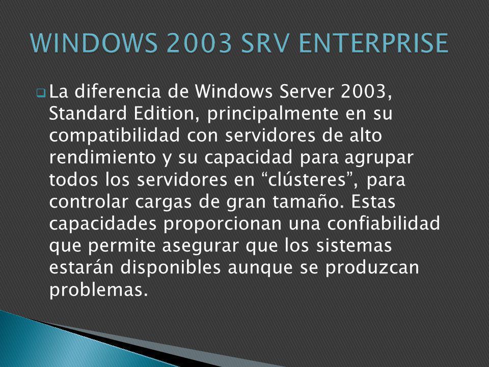 La diferencia de Windows Server 2003, Standard Edition, principalmente en su compatibilidad con servidores de alto rendimiento y su capacidad para agr