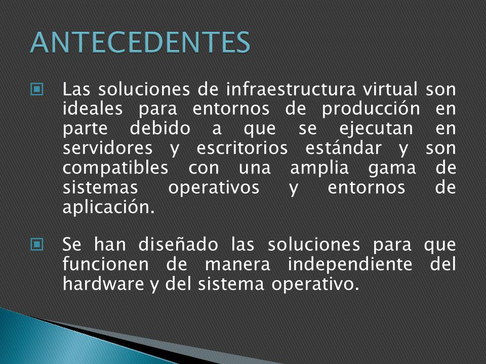 Las soluciones de infraestructura virtual son ideales para entornos de producción en parte debido a que se ejecutan en servidores y escritorios estánd
