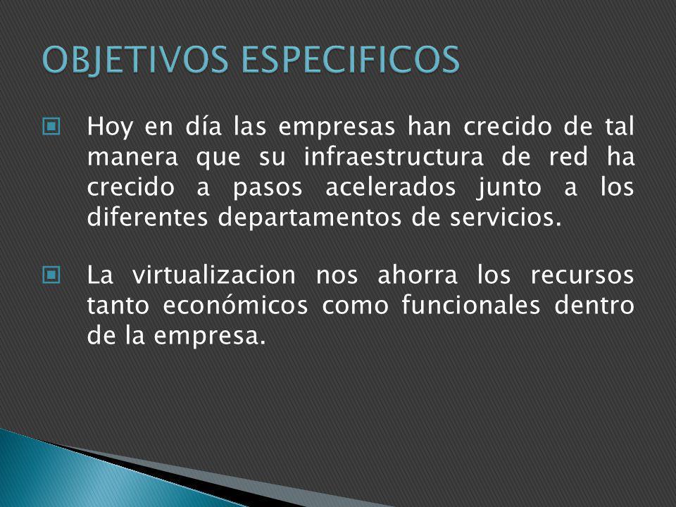 Virtualizar los Servidores en la plataforma de VMware para poder realizar las pruebas necesarias y evaluar el rendimiento del esquema Virtualizado.