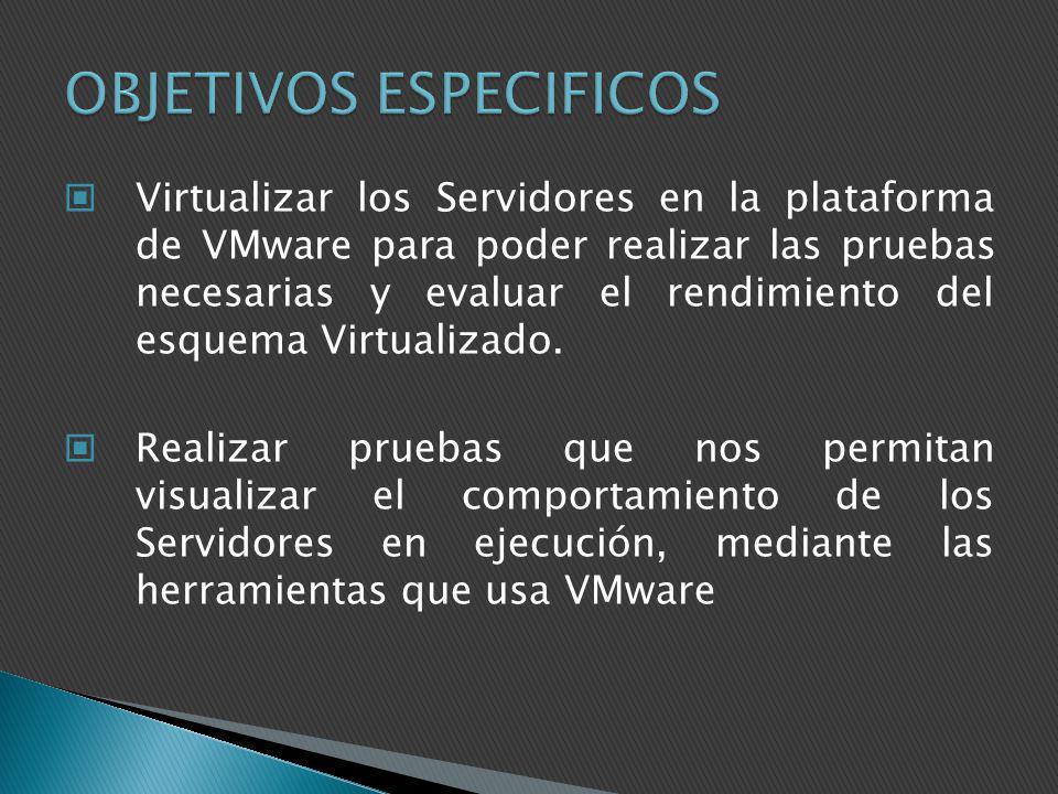 Virtualizar los Servidores en la plataforma de VMware para poder realizar las pruebas necesarias y evaluar el rendimiento del esquema Virtualizado. Re