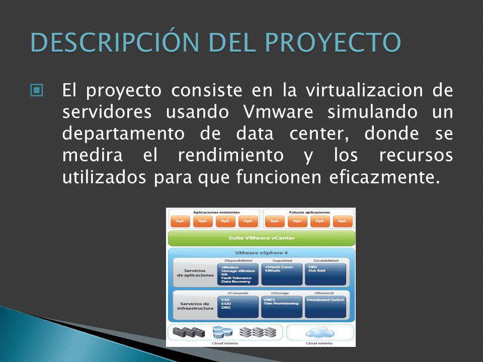 El proyecto consiste en la virtualizacion de servidores usando Vmware simulando un departamento de data center, donde se medira el rendimiento y los r