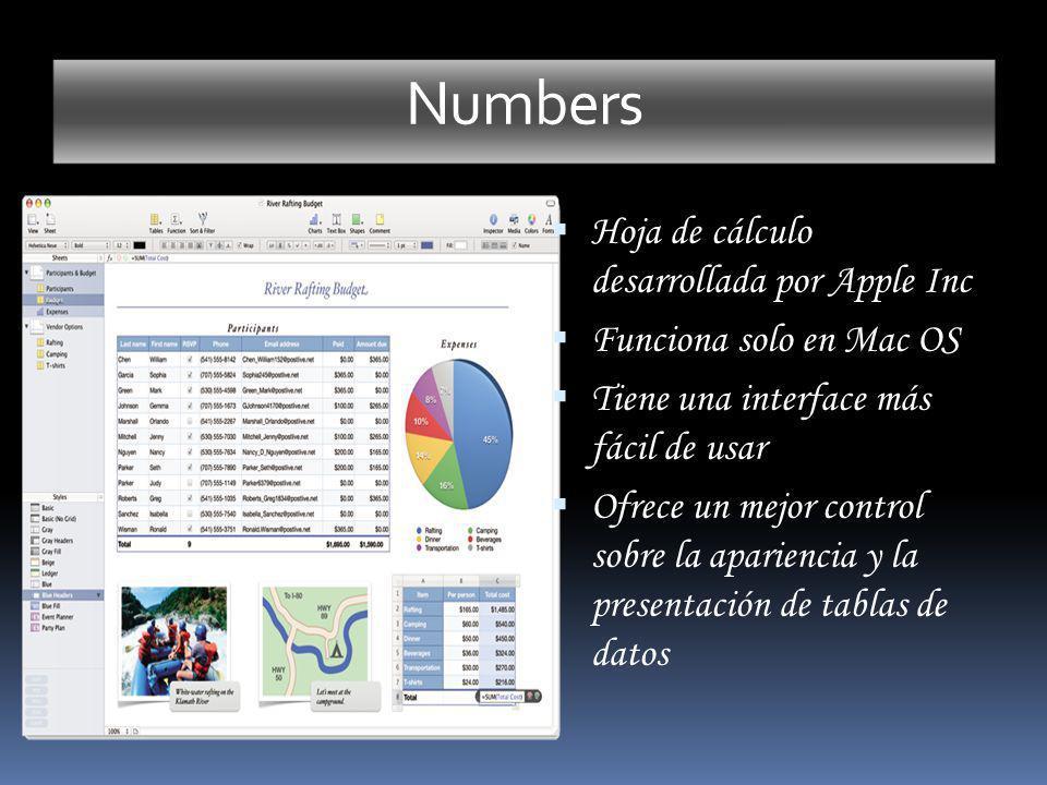 Numbers Hoja de cálculo desarrollada por Apple Inc Funciona solo en Mac OS Tiene una interface más fácil de usar Ofrece un mejor control sobre la apar