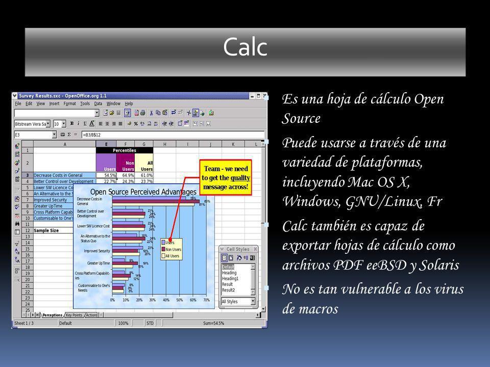 Calc Es una hoja de cálculo Open Source Puede usarse a través de una variedad de plataformas, incluyendo Mac OS X, Windows, GNU/Linux, Fr Calc también