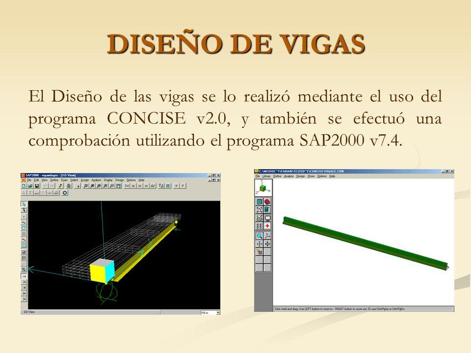 CÁLCULO DE CARGAS VIVAS PARA LAS VIGAS Para el análisis de la carga viva se consideró un camión de diseño HS 20-44 modificado por el factor 1.378 según lo establecido por el MOP y las consideraciones de diseño establecidas por la AASHTO del año 1996.