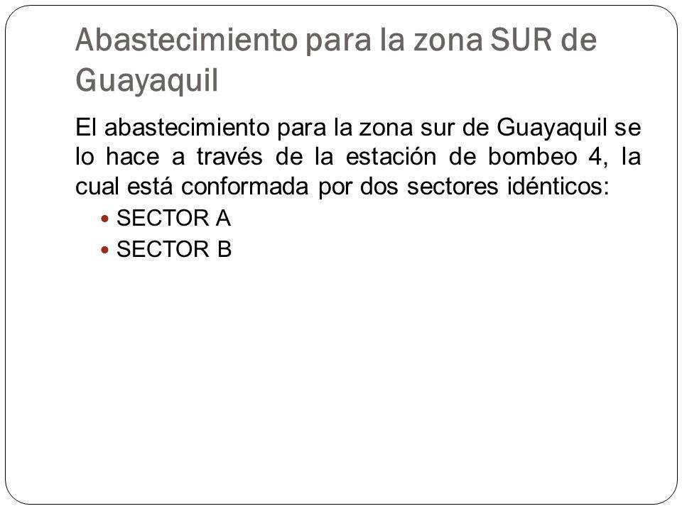 Abastecimiento para la zona SUR de Guayaquil El abastecimiento para la zona sur de Guayaquil se lo hace a través de la estación de bombeo 4, la cual está conformada por dos sectores idénticos: SECTOR A SECTOR B