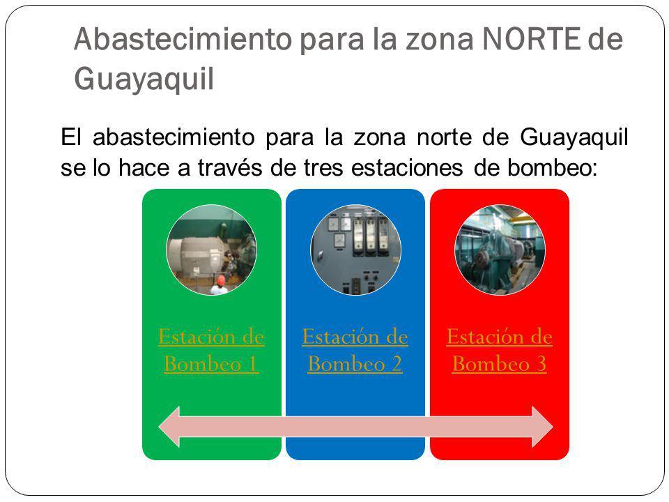 Abastecimiento para la zona NORTE de Guayaquil El abastecimiento para la zona norte de Guayaquil se lo hace a través de tres estaciones de bombeo: Est