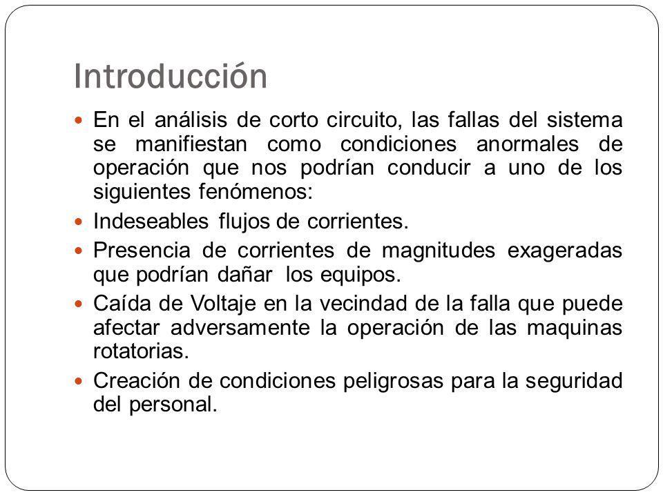 Introducción En el análisis de corto circuito, las fallas del sistema se manifiestan como condiciones anormales de operación que nos podrían conducir a uno de los siguientes fenómenos: Indeseables flujos de corrientes.