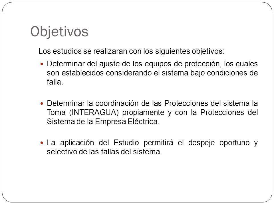 Objetivos Los estudios se realizaran con los siguientes objetivos: Determinar del ajuste de los equipos de protección, los cuales son establecidos considerando el sistema bajo condiciones de falla.
