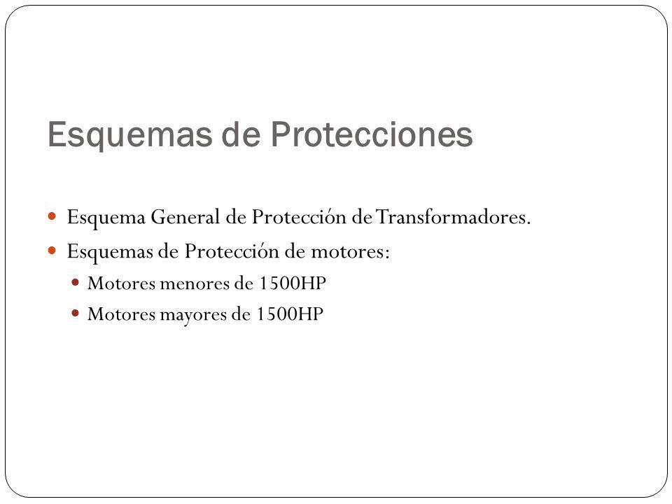 Esquemas de Protecciones Esquema General de Protección de Transformadores. Esquemas de Protección de motores: Motores menores de 1500HP Motores mayore