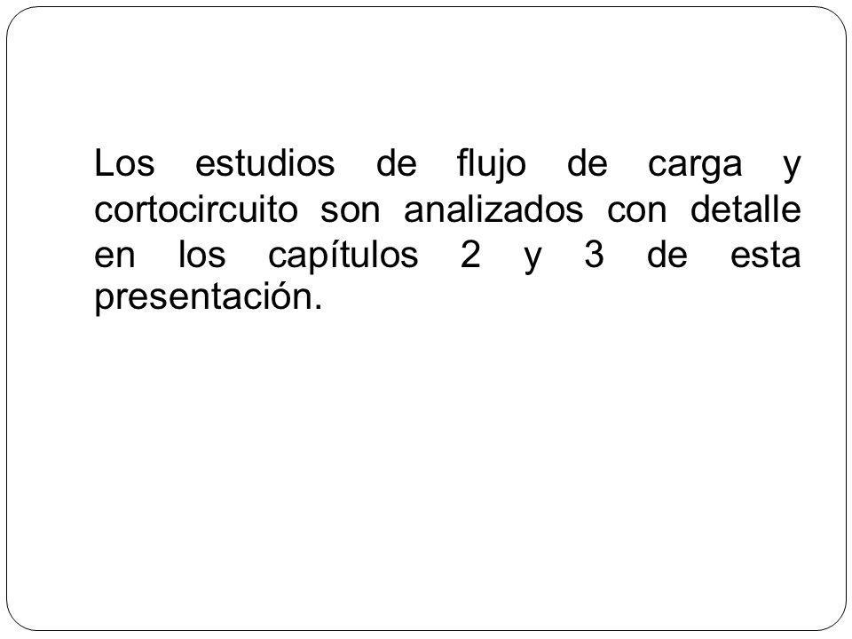 Los estudios de flujo de carga y cortocircuito son analizados con detalle en los capítulos 2 y 3 de esta presentación.
