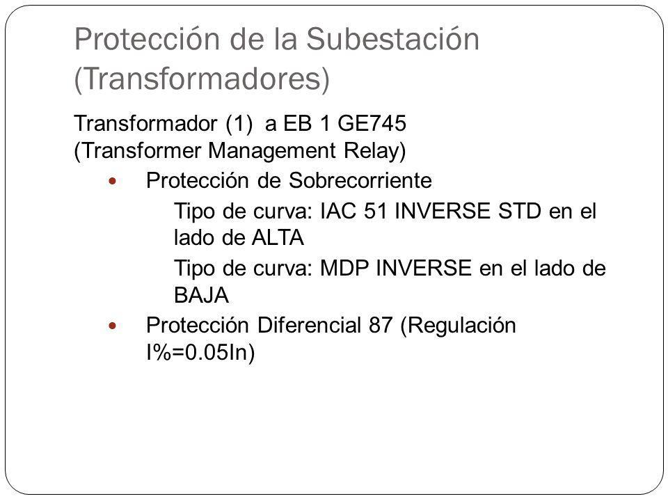 Protección de la Subestación (Transformadores) Transformador (1) a EB 1 GE745 (Transformer Management Relay) Protección de Sobrecorriente Tipo de curva: IAC 51 INVERSE STD en el lado de ALTA Tipo de curva: MDP INVERSE en el lado de BAJA Protección Diferencial 87 (Regulación I%=0.05In)