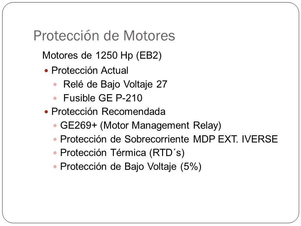 Protección de Motores Motores de 1250 Hp (EB2) Protección Actual Relé de Bajo Voltaje 27 Fusible GE P-210 Protección Recomendada GE269+ (Motor Management Relay) Protección de Sobrecorriente MDP EXT.